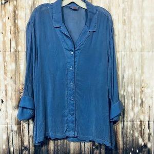 Tianello Georgette Womens Button Front Blouse Size